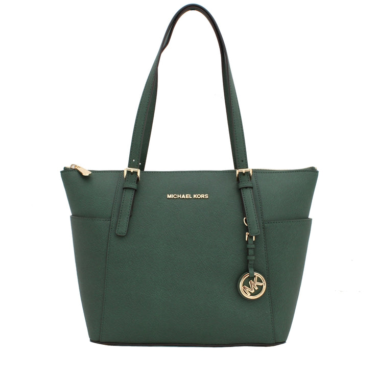 Michael Kors Jet Set East West Leather Tote Bag- Malachite