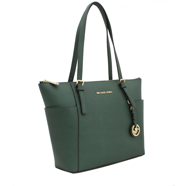 Michael Kors Jet Set East West Top-Zip Saffiano Leather Tote Bag- Luggage