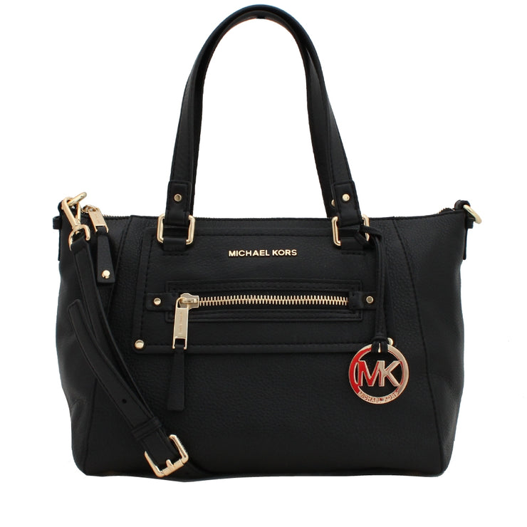 Michael Kors Gilmore Medium East West Leather Satchel Bag- Black