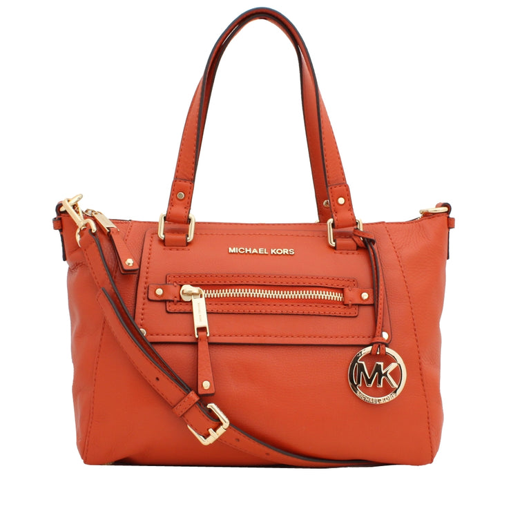 Michael Kors Gilmore Medium East West Leather Satchel Bag- Burnt Orange