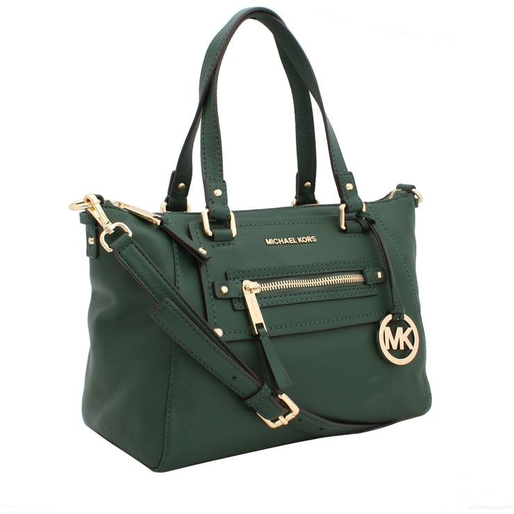 Michael Kors Gilmore Medium East West Leather Satchel Bag- Malachite