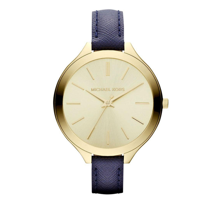 Michael Kors Ladies' Thin Navy Leather Watch with Gold Dial