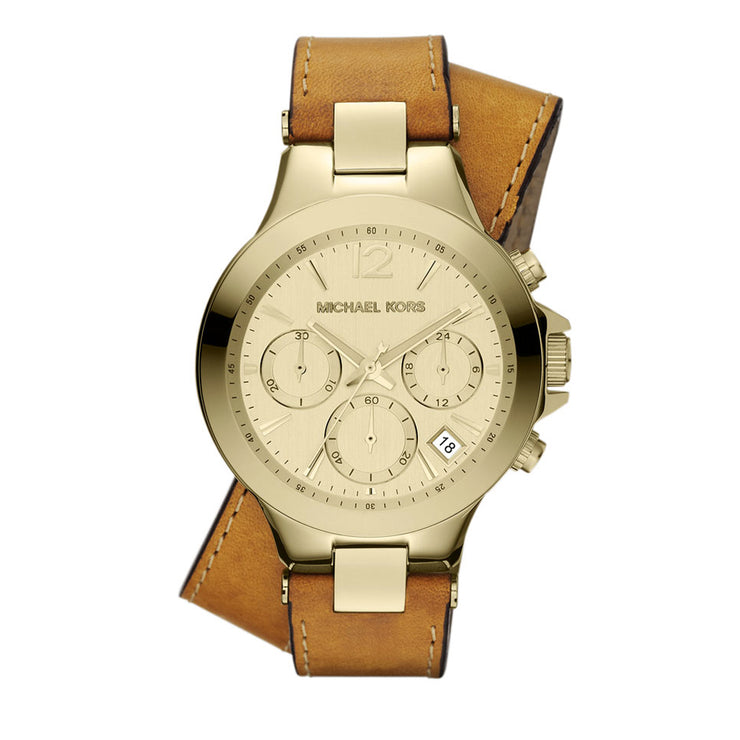 Michael Kors Ladies' Peyton Double Wrap Luggage Leather Watch