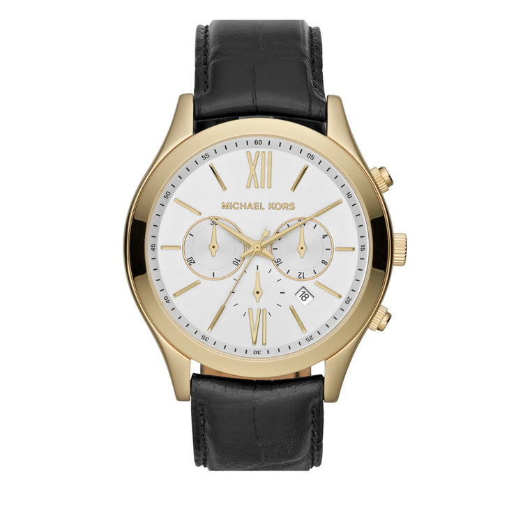 Michael Kors Men's Brookton Black Leather Chronograph Watch