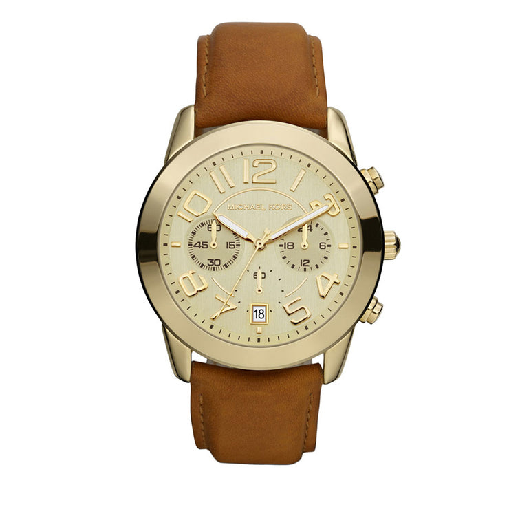 Michael Kors Ladies' Bradshaw Vachetta Leather Rose Gold Watch