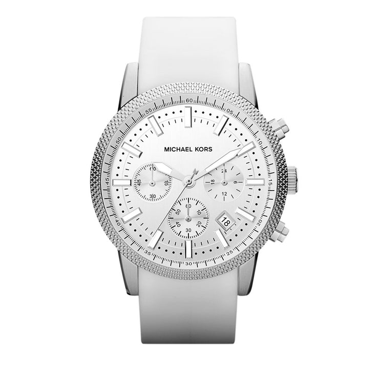 Michael Kors Men's White Silicon Strap Chronograph Watch