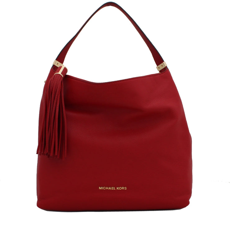 Michael Kors Large Weston Pebbled Shoulder Bag- Red