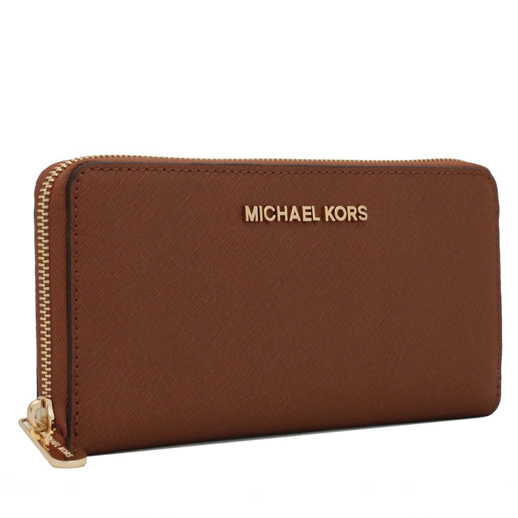 Michael Kors Jet Set Travel Zip-Around Saffiano Leather Continental Wallet- Heritage Blue-Navy