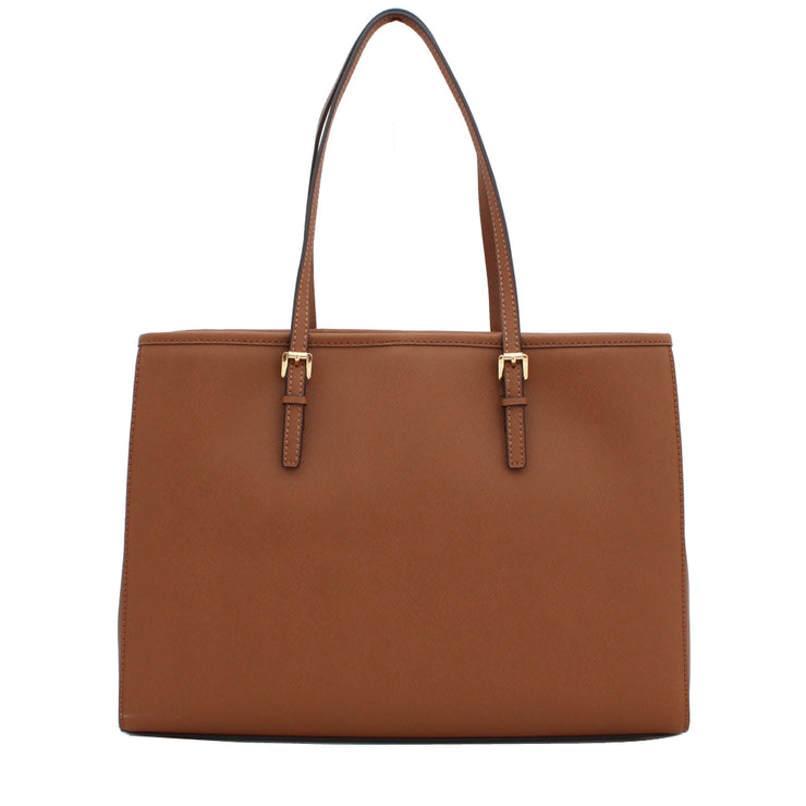 Michael Kors Jet Set Travel Signature Large East West Tote Bag- Brown