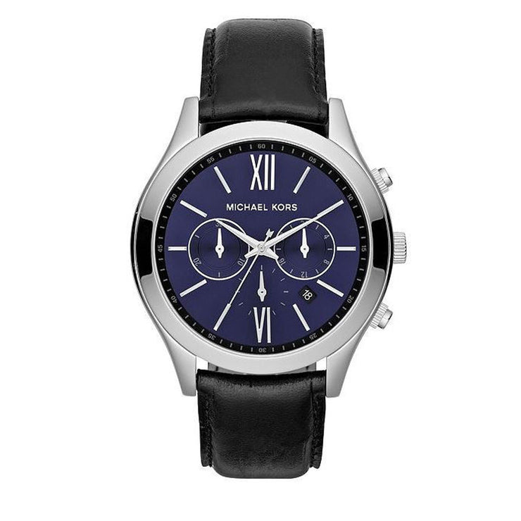 Michael Kors Men's Brookton Chronograph Black Leather Watch