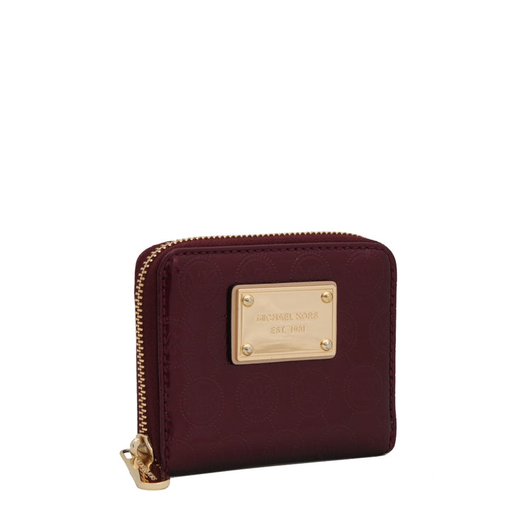 Michael Kors Jet Set Signature Patent Small Zip Around Wallet- Bordeaux