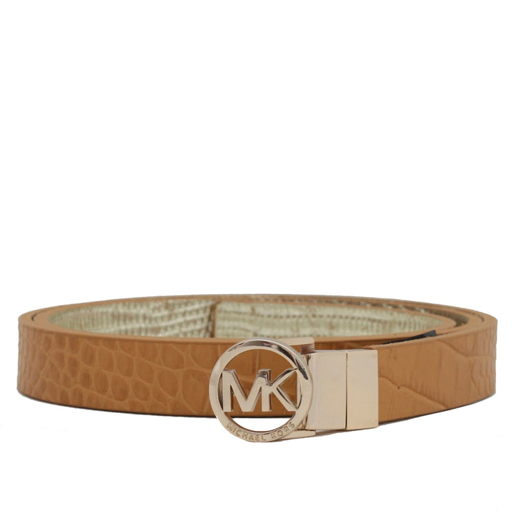 Michael Kors Reversible Embossed Leather Belt- Luggage-Gold