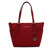 Michael Kors Jet Set Top-Zip Saffiano Leather East West Tote Bag- Bright Red- Gold