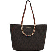 Michael Kors Harper Signature Large East West Tote Bag- Brown