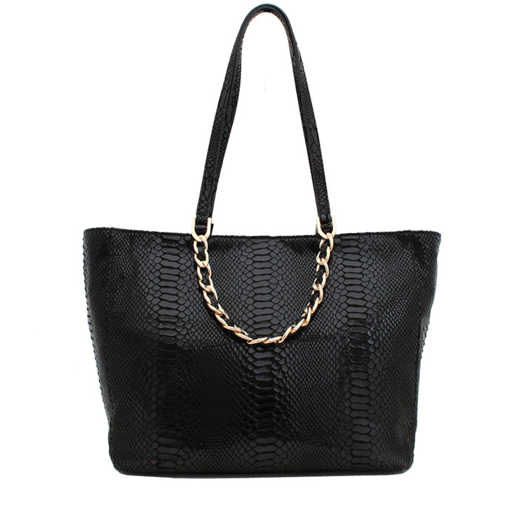 Michael Kors Harper Large East West Tote Bag- Black Patent Python