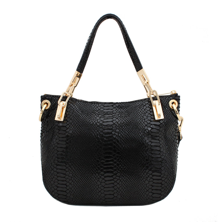 Michael Kors Brooke Medium Shoulder Bag- Black Patent Python