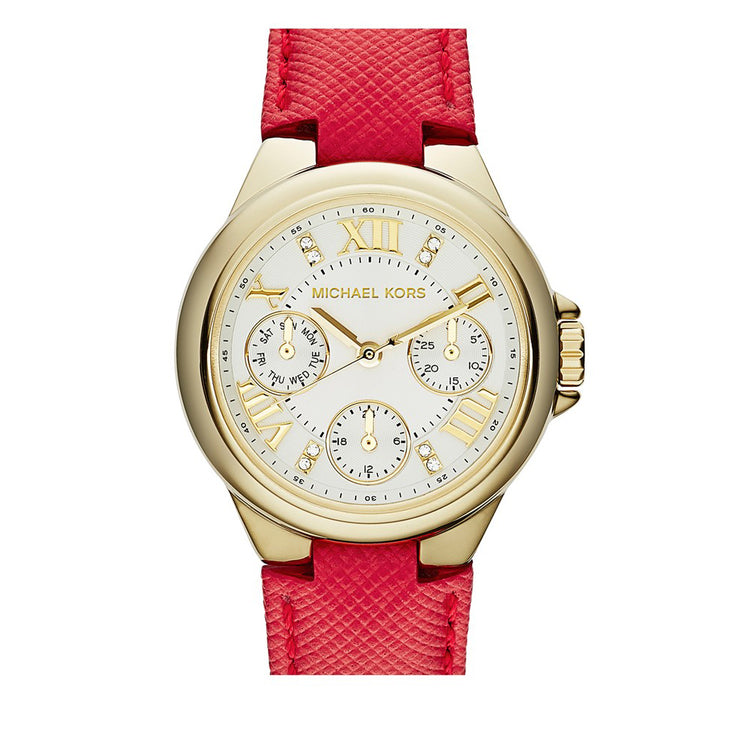 Michael Kors Watch MK2321- Camille Red Leather Multifunction Ladies Watch