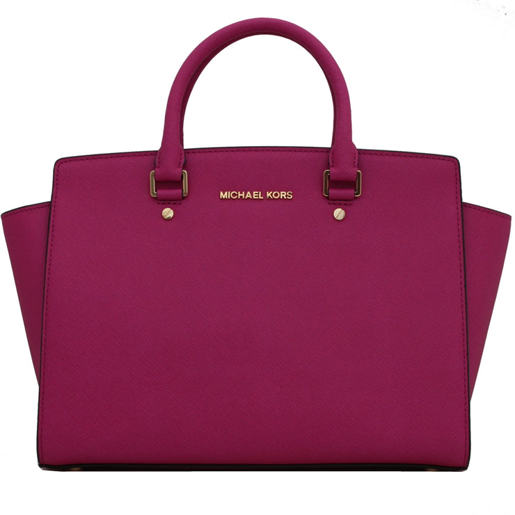 Michael Kors Large Selma Top-Zip Satchel Bag- Fuschia