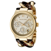 Michael Kors Watch MK4222 Chronograph Gold Tone Stainless Steel & Tortoise Chain Link Women Watch
