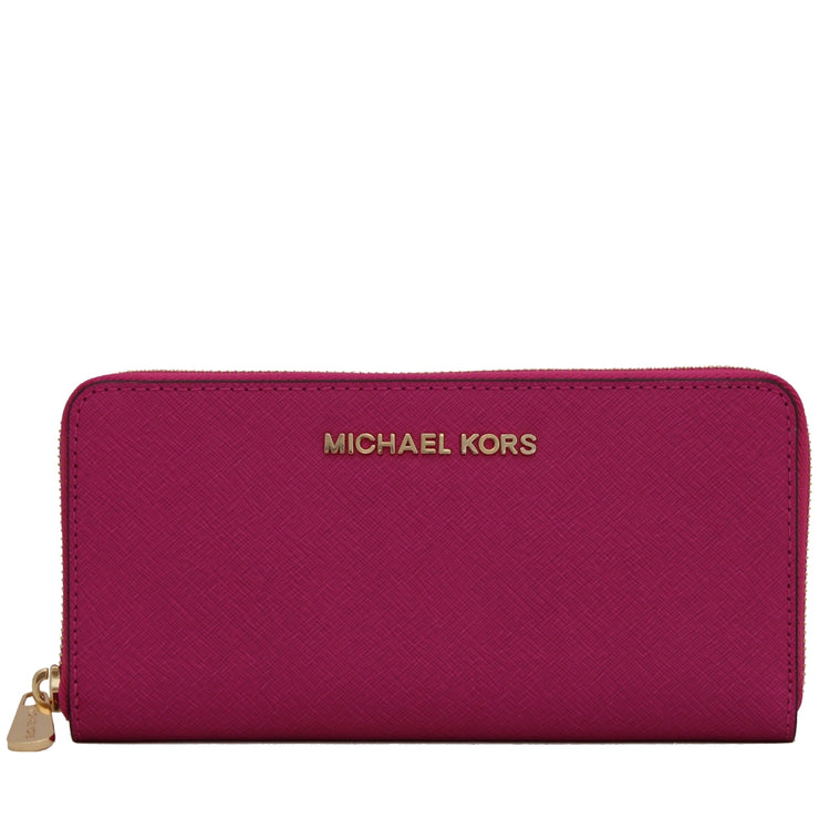 Michael Kors Jet Set Travel Zip-Around Saffiano Leather Continental Wallet- Fuschia