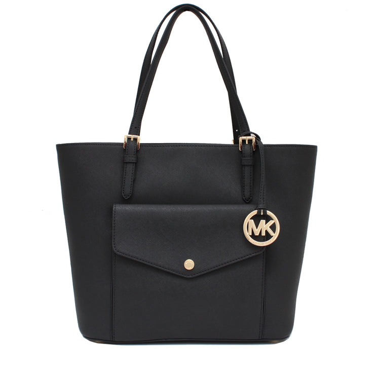 Michael Kors Jet Set Travel Large Saffiano Leather Top Zip Pocket Tote Bag- Black