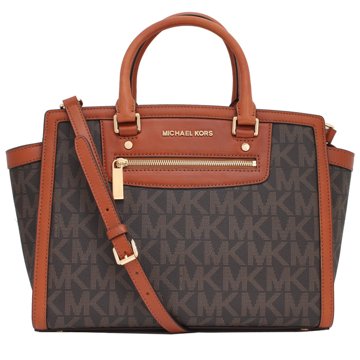 Michael Kors Selma Logo Large Top Zip Satchel Bag- Brown