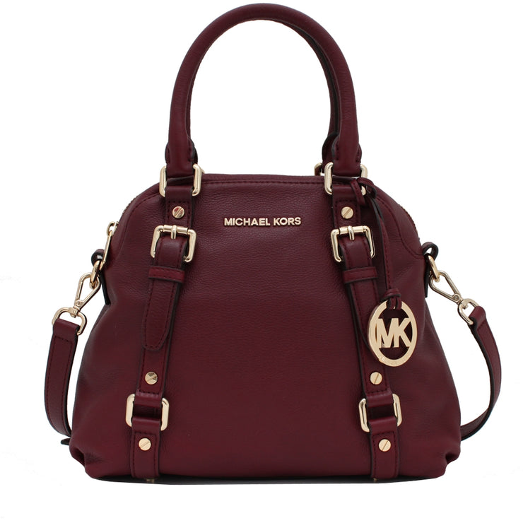 Michael Kors Bedford Medium Bowling Leather Satchel Bag- Claret