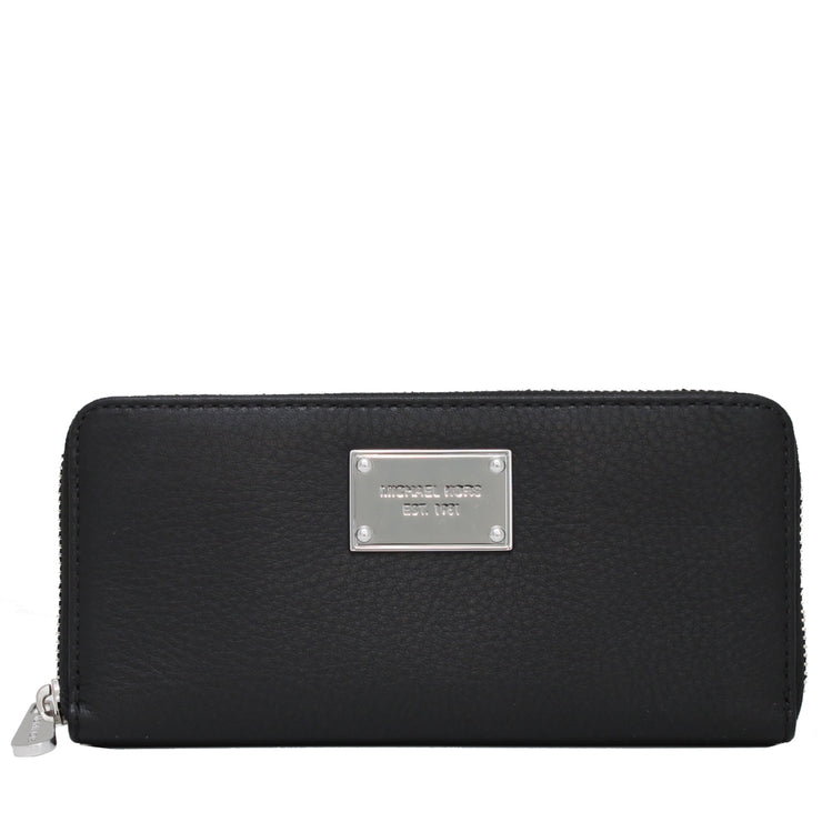 Michael Kors Jet Set Leather Zip Around Continental Wallet- Black