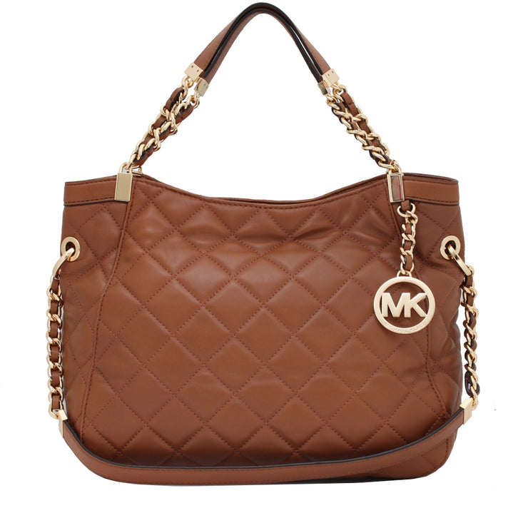 Michael Kors Susannah Quilted Leather Medium Shoulder Tote Bag- Walnut