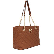 Michael Kors Fulton Quilted Leather Large East West Tote Bag- Walnut