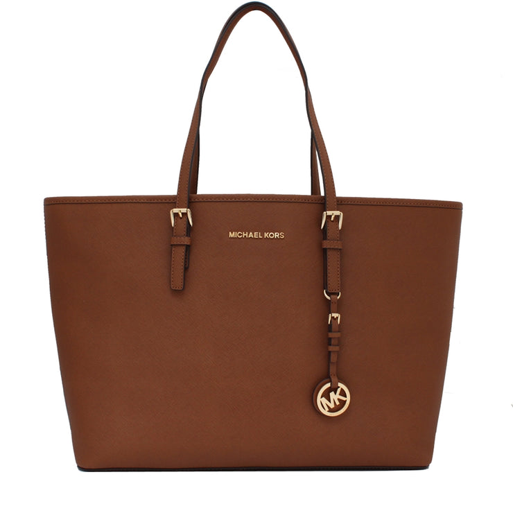 Michael Kors Jet Set Travel Multifunction Medium Saffiano Leather Tote Bag- Luggage