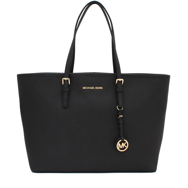 Michael Kors Jet Set Travel Saffiano Leather Top-Zip Multi-Functional Medium Tote Bag- Black