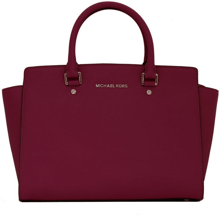 Michael Kors Selma Large Saffiano Leather Satchel Bag- Deep Pink
