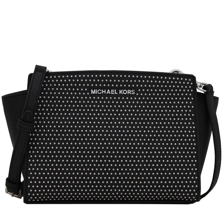 Michael Kors Selma Studded Saffiano Leather Medium Messenger Bag- Black