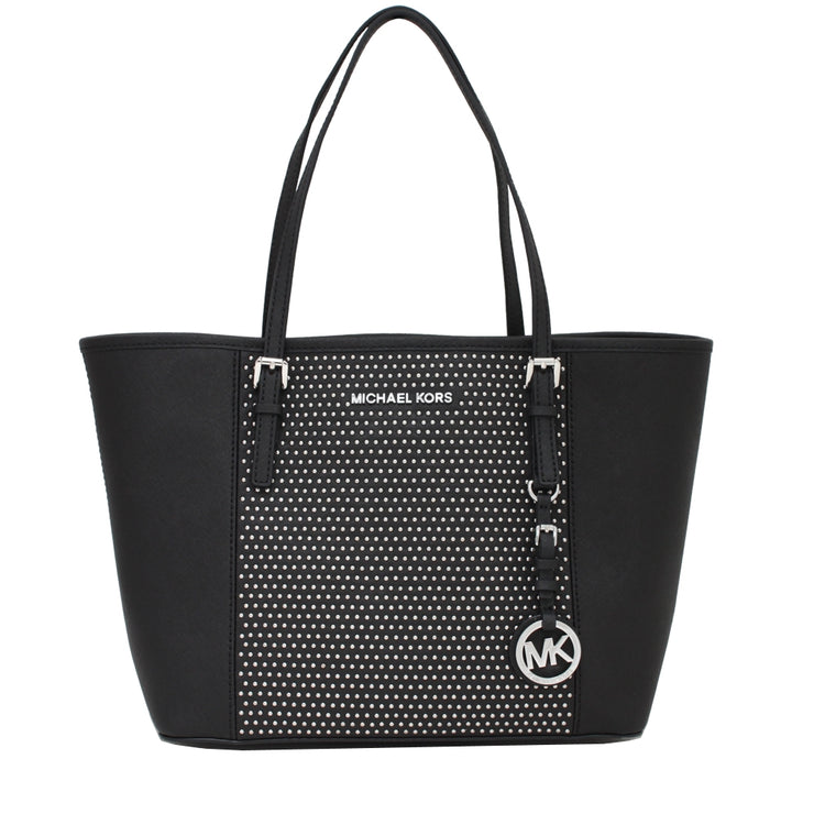 Michael Kors Jet Set Travel Studded Saffiano Leather Small Tote Bag- Black