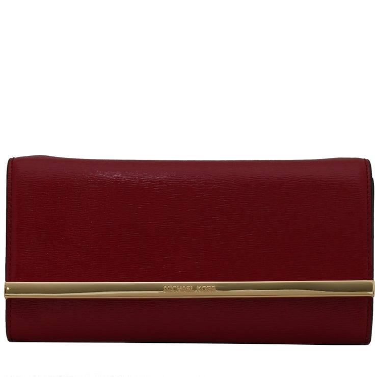 Michael Kors Lana Leather Clutch Bag- Dark Red