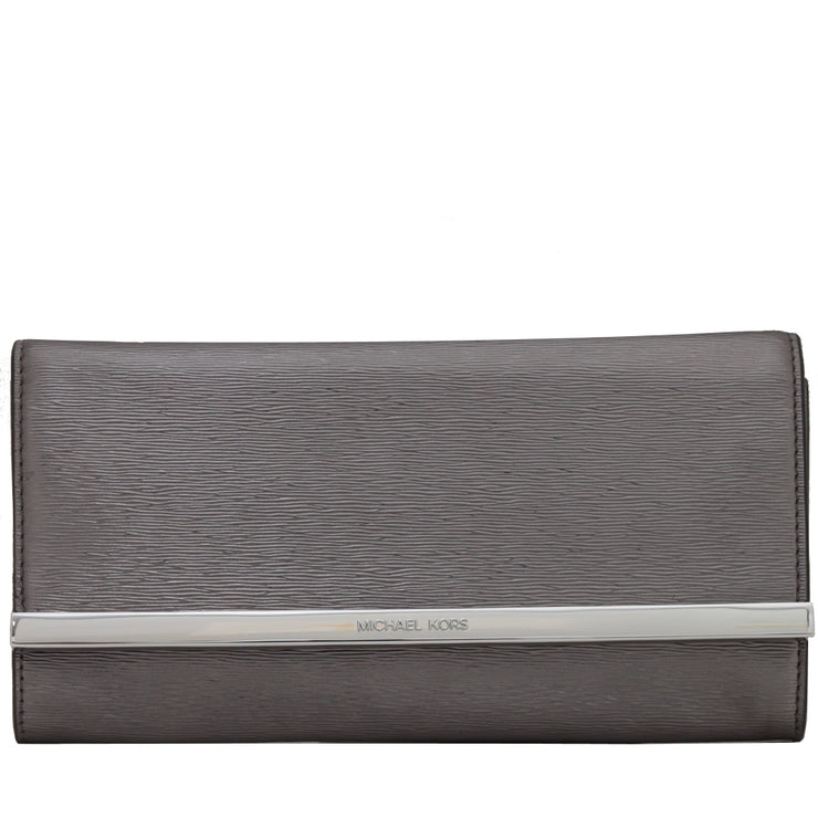 Michael Kors Lana Leather Clutch Bag- Pewter