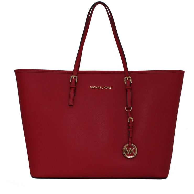 Michael Kors Jet Set Travel Medium Saffiano Leather Tote Bag- Red