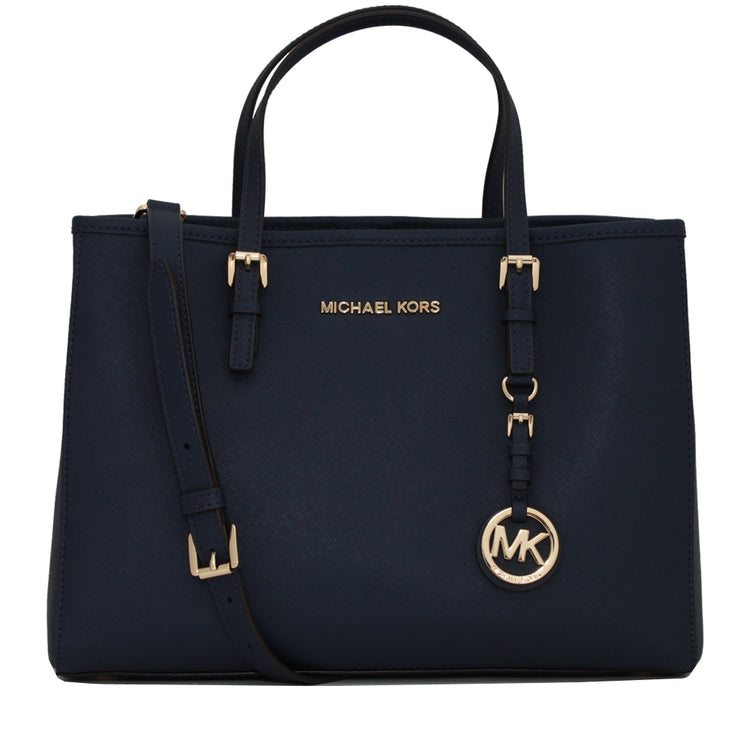 Michael Kors Jet Set Travel Saffiano Leather Medium East West Tote Bag- Navy