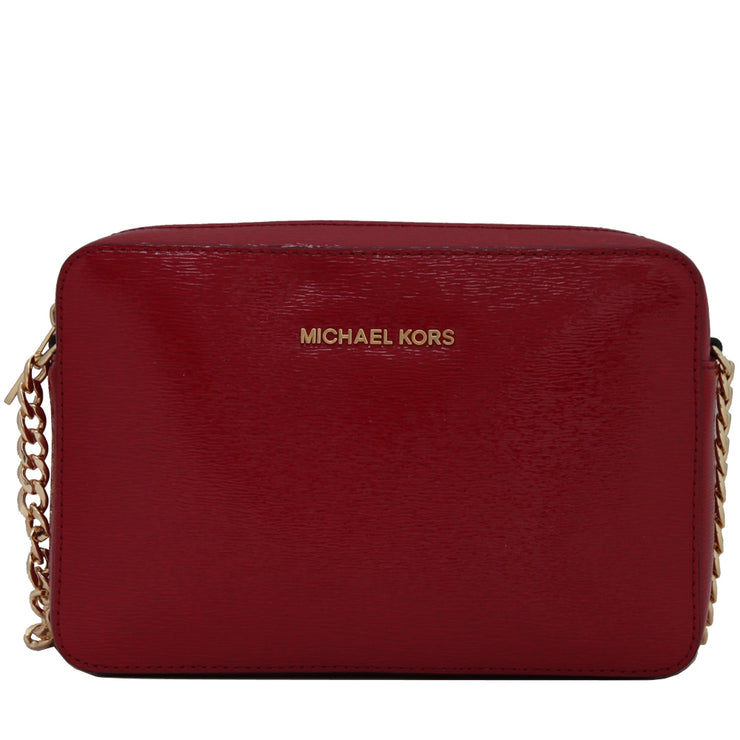 Michael Kors Jet Set Travel Large Patent Leather Crossbody Bag- Dark Red