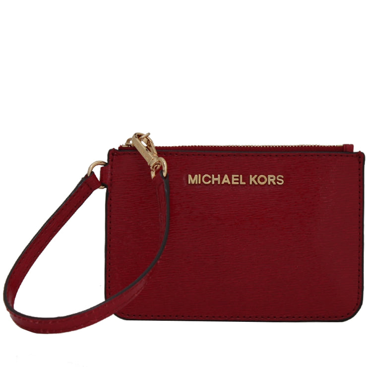 Michael Kors Jet Set Travel Patent Leather Small Wristlet- Dark Red