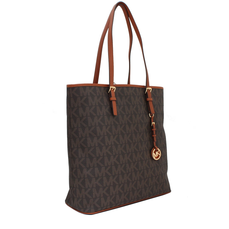 Michael Kors Signature Jet Set Travel North South Multifunction Tote Bag- Brown