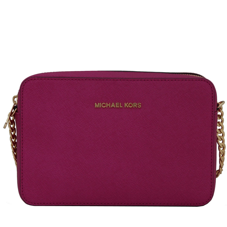 Michael Kors Jet Set Travel Large Saffiano Leather Crossbody Bag- Fuschia
