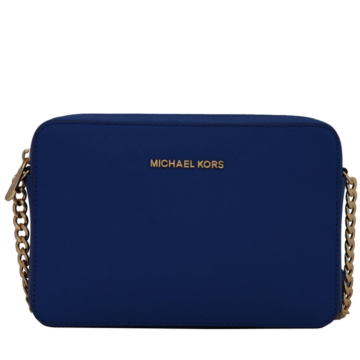 Michael Kors Jet Set Travel Large Saffiano Leather Crossbody Bag- Electric Blue