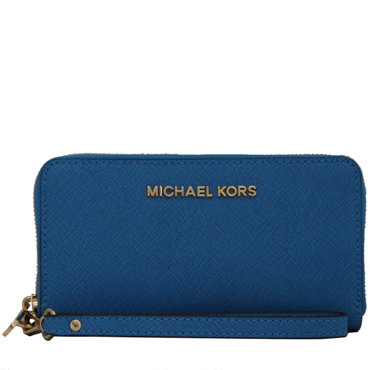 Michael Kors Jet Set Travel Large Multi-Function Phone Case Wristlet- Heritage Blue