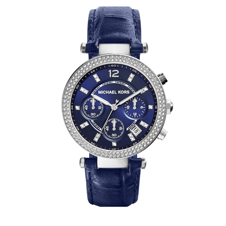 Michael Kors Watch MK2384- Parker Chronograph Blue Leather Ladies Watch