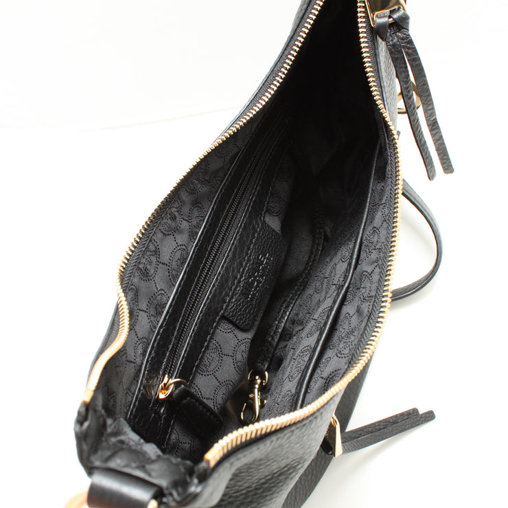 Michael Kors Rhea Zip Small Leather Messenger Bag- Black