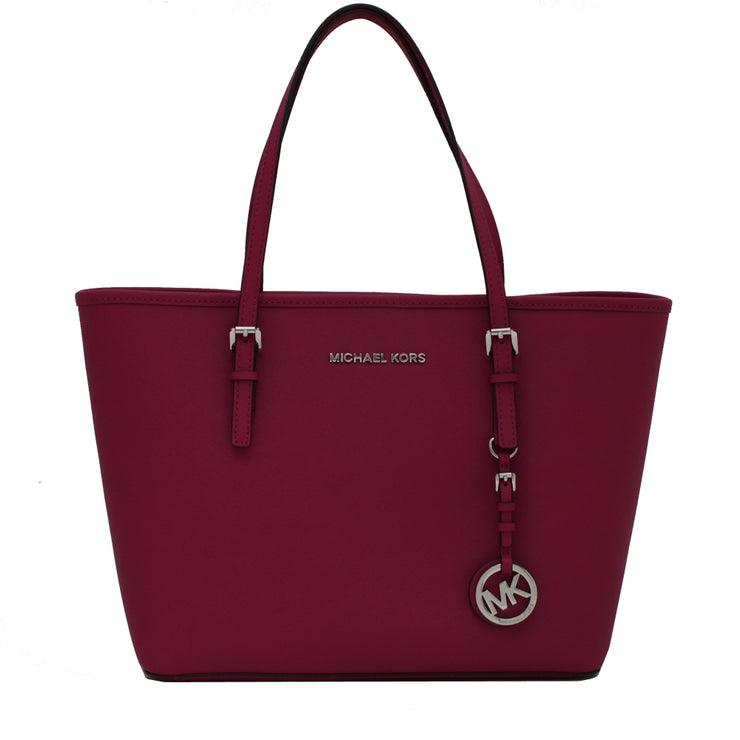 Michael Kors Jet Set Travel Saffiano Leather Small Tote Bag- Deep Pink