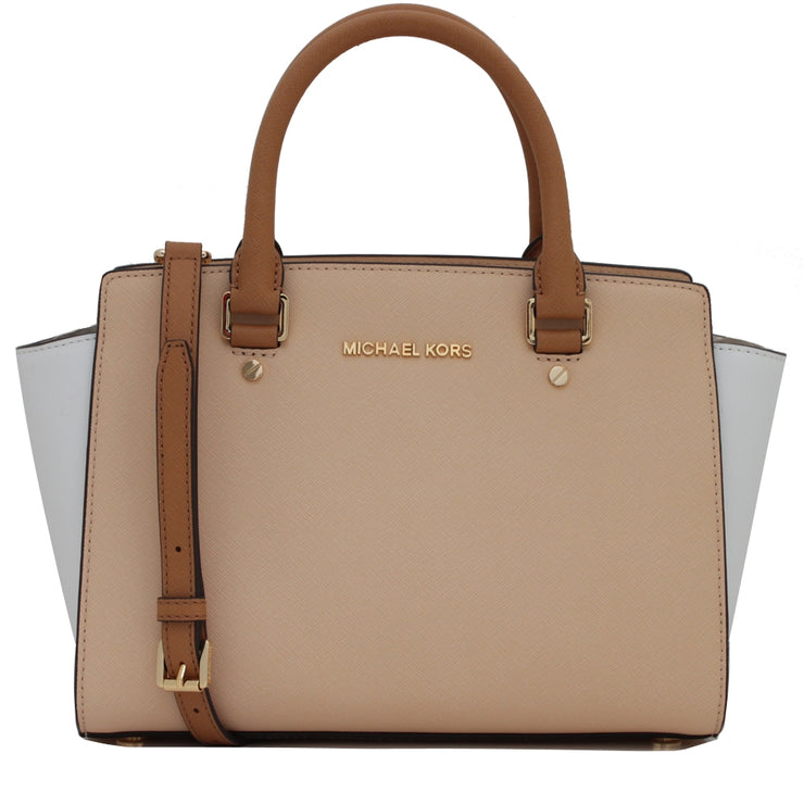 Michael Kors Selma Saffiano Leather Colour Block Medium Satchel Bag- Nude- White- Peanut