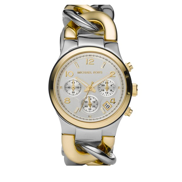 Michael Kors Watch MK3199- Two-Tone Stainless Steel Twist Chain Link Chronograph Ladies Watch